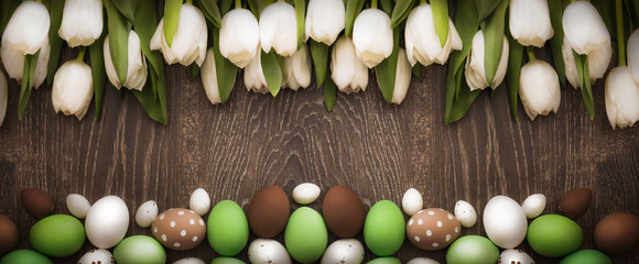 Easter background with tulips