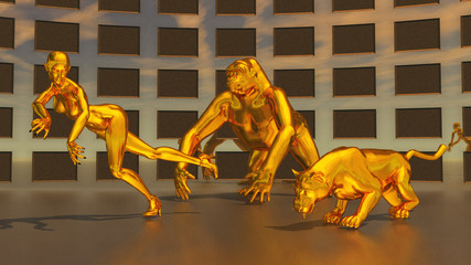 Golden sculptures of woman, gorilla and leopard
