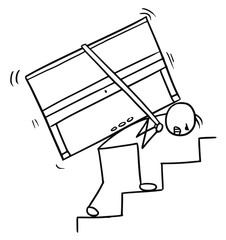 Cartoon of a Man Carrying a Piano up the Stairs