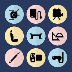 Set of 9 equipment filled icons