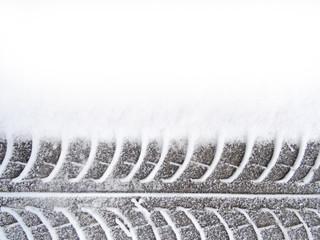 tire on white snow