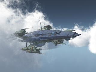 Riesiges Raumschiff zwischen den Wolken