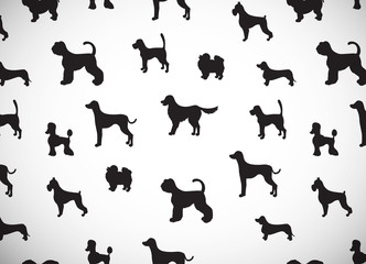 Awesome greeting card with silhouettes of cartoon dogs. Different breeds.