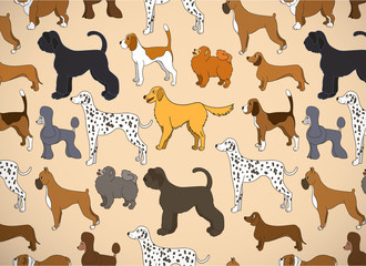 Greeting card with unusual pattern with cute cartoon dogs. Different breeds.