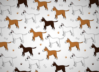 Awesome seamless pattern with cute cartoon dogs. Breed bullterier.