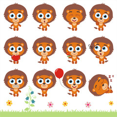 Big set cute little lion. Collection isolated cartoon lion in different poses.