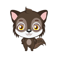 Cute stylized cartoon wolf illustration ( use for stickers, fun scenes, decoration etc. )