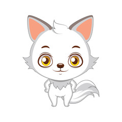 Cute stylized cartoon arctic fox illustration ( use for stickers, fun scenes, decoration etc. )
