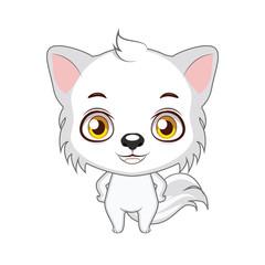 Cute stylized cartoon arctic wolf illustration ( use for stickers, fun scenes, decoration etc. )