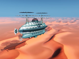 Fantasie Luftschiff über einer Sandwüste