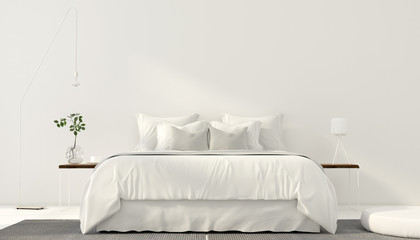 Minimalistic interior of white bedroom