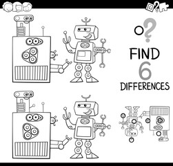 differences with robots coloring page