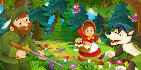 cartoon scene with wolf girl and hunter in the forest