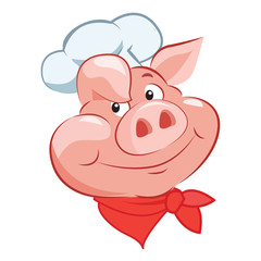Happy Pig Chef Head. Cartoon Vector Illustration. Pig Chef Hat. Pig Chef Toy. Pig Chef Game And Costume. Chef Pig. Pig Chef Logo.