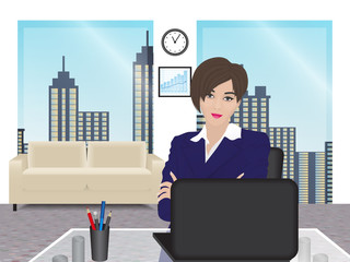 business woman on background of office interior