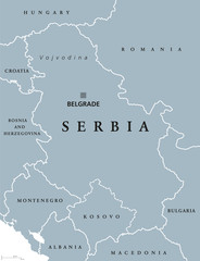 Serbia political map with capital Belgrade and neighbor countries. Republic in Southeastern Europe located on the Balkan Peninsula. Gray illustration with English labeling on white background. Vector.