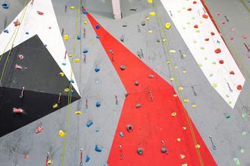 Artificial climbing bouldering wall indoors