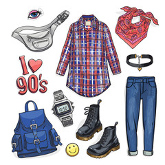 Sketchy illustration set with nineties fashion items