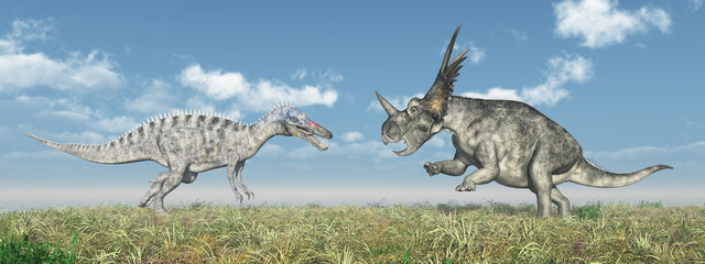 Suchomimus and Styracosaurus
