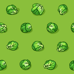 Pop art style seamless pattern with cabbage