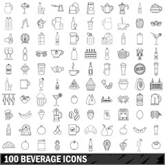 100 beverage icons set, outline style