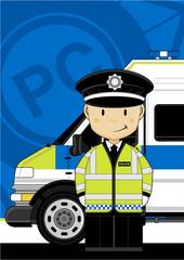 Cute Cartoon British Policeman and Police Van
