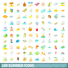 100 summer icons set, cartoon style