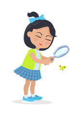 Girl Looking at Butterfly through Magnifying Glass