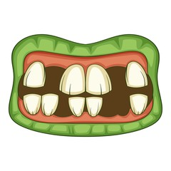 Zombie teeth icon, cartoon style