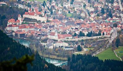 Wall Mural - Aerial view of Fussen, bavarian town.