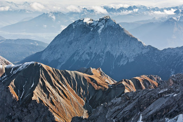 Wall Mural - Alpine landscape, view from Zugspitze mountain. Bavarian Alps.