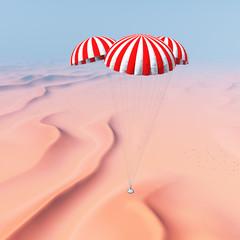 Raumkapsel nähert sich der Landung in der Wüste