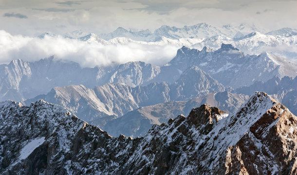 Alpine landscape, view from Zugspitze mountain. Bavarian Alps.
