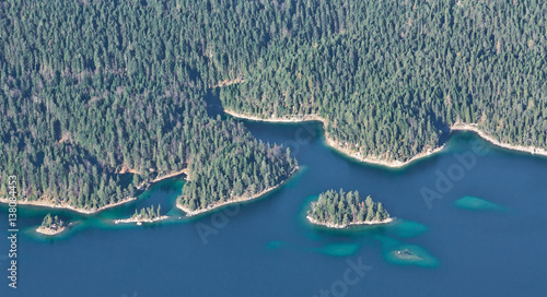 Wall mural Aerial view from Zugspitze mountain on the lake Eibsee.