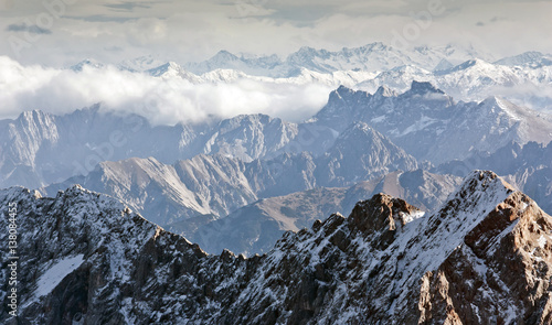 Wall mural Alpine landscape, view from Zugspitze mountain. Bavarian Alps.