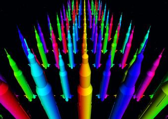 Massen von bunten Raketen