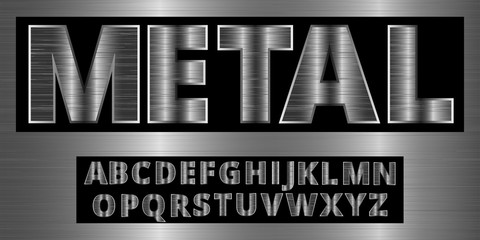 Brushed aluminum metal realistic font. Detailed steel chrome alphabet typeset on vector background.