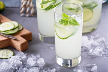 Cucumber lemonade in tall glasses