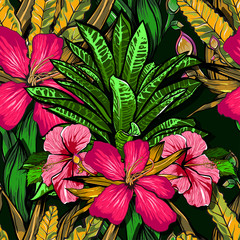 Tropical flowers, jungle leaves, paradise flower. Beautiful seamless vector floral pattern background, exotic print.