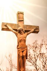 Jesus Christus Kreuz in der Sonne