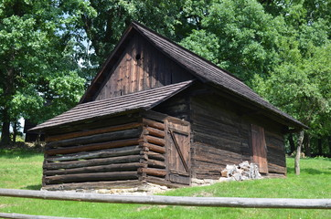 Old wooden house in open-air museum from the 19th century