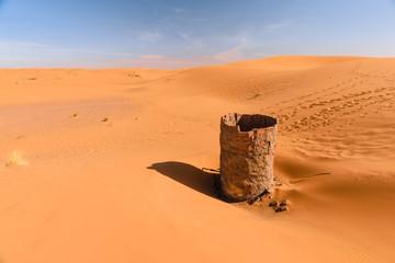 Dry water well in Erg chebbi desert, Merzouga, Morocco