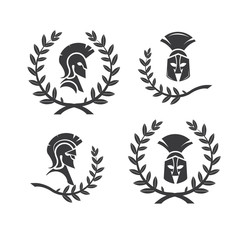 Warrior icon in spartan style. Stylized helmet and soldier silhouette with sample typography. Symbol of strength. Collection of Spartan soldier symbols with laurel wreaths. EPS 10 vector.