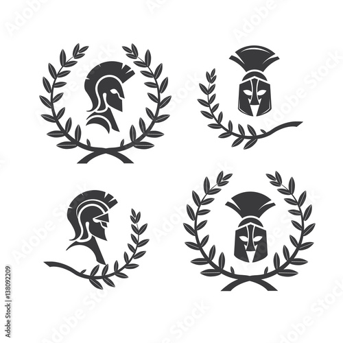 Warrior Icon In Spartan Style Stylized Helmet And Soldier