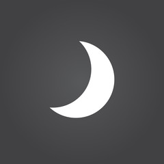 moon icon vector, solid logo, white pictogram isolated, forecast weather symbol