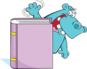 Cartoon illustration of a hippo standing behind a book.
