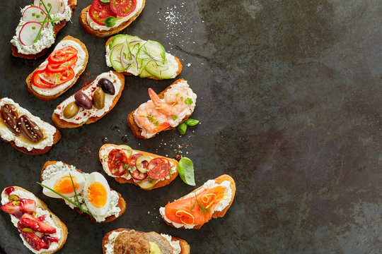 Assorted delicious fresh canapes
