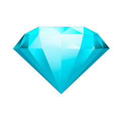 blue gemstone symbol. Diamond illustration in a flat style. faceted gem on no background