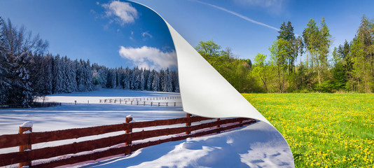 Change of season from winter to spring Wall mural
