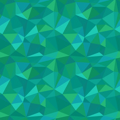 Abstract polygonal seamless pattern. Vector illustration of crystal surface in low poly style for background. Picture made of triangles in emerald green colors. Gemstone surface.